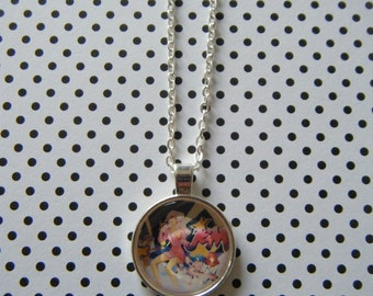 Truly outrageous Jem retro cartoon round silver pendant necklace