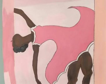 black woman painting,black  ballerina, woman art,black ballerina,natural woman ballet dancing,woman dancer, pink white  dress, balllet