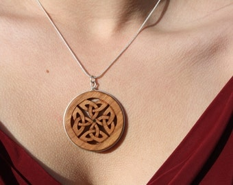 Celtic Infinity Knot Necklace On Sterling Silver, Hand-carved Cherry Wood Celtic Knot Pendant, Wood Anniversary Gift, Celtic Pagan jewelry