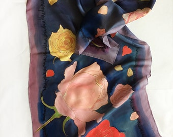 Silk Scarf, Roses Silk Scarf painted by hand, Navy Blue scarf, Floral silk scarf painted, Luxury gift for her, Habotai silk, Serti scarf KA1