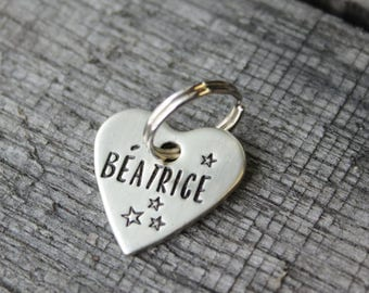 Heart dog or cat ID tag - Pet name tag