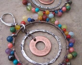 Boho gemstone hoop earrings - Multi-colored gemstones - Hoop earrings - Mixed metal jewelry