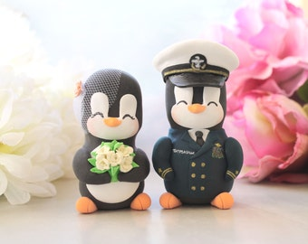 Unique Wedding cake toppers Military Penguin US Navy dress blue - with hat- unique bride groom job personalized gift anniversary ivory roses