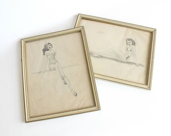Vintage Pin Up Art Sketches on Paper Ink Pencil  World War II Era Amateur Artist Matching Frames Home Wall Decor