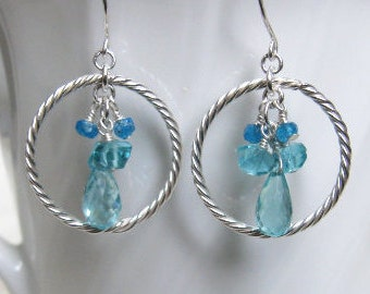 Apatite Cluster Earrings with Silver Hoops