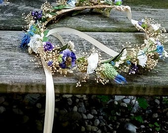 Blue Purple Flower Crown dried silk floral hair wreath bridal halo destination wedding Wildflower accessories music festivals garland