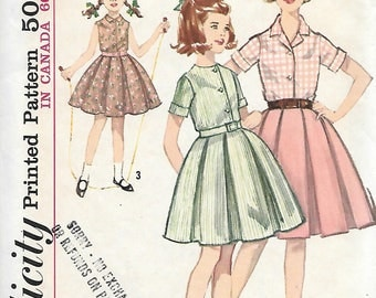 Simplicity 5294 UNCUT 1960s Tweens Pleated Skirt and Blouse Vintage Sewing Pattern Size 10.5 Bust 31.5 Girls Skirt
