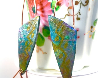 Blue and Green, Hand painted watercolor paper modern copper dangle earrings, wearable art earrings, artisan earrings