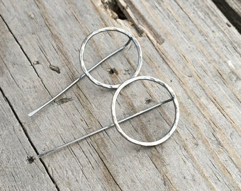 Sterling Silver Circle & Stick Earrings Handmade Sterling Silver Earrings By Wild Prairie Silver Jewelry