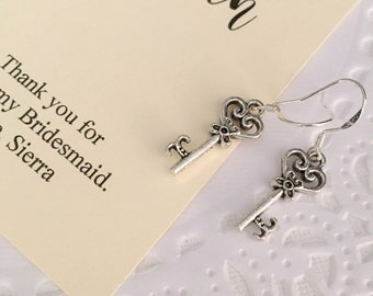 Tiny key charm earring, bridesmaids gift, personalized notecard and jewelry box.