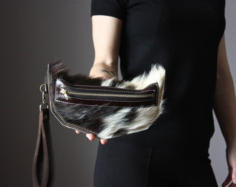 Black Cat clutch,  cat lady bag, hair on hide , unique leather clutch, cowhide purse, kitten clucth, Spotted Cowhide clutch, iPhone clutch