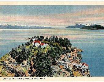 Vintage Alaska Postcard - Lynn Canal, Inside Passage to Alaska (Unused)
