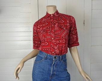 60s Bandana Blouse in Red- 1960s Cowgirl / Western- Pearl Snaps- Cotton