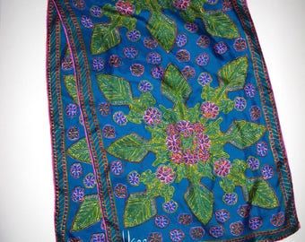 Vintage Silk Vera Neumann Scarf LONG Abstract Floral Bright Aqua Lime Green Hot Pink 15 by 45 Hand Rolled