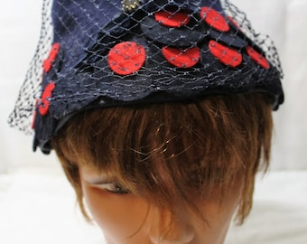 Vintage Navy Blue Pyr-Lane Wool Felt Bucket Hat, Red Polka Dots, Veil
