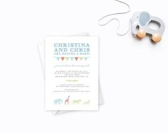 Circus Theme Baby Shower, Baby Shower Invitation, Gingham Pattern, Invite with Animals, Unisex Baby Shower, Circus Theme Invite