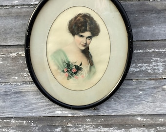 Antique Print picture Edwaridian Victorian Lady Portrait Titled Sweet Sixteen