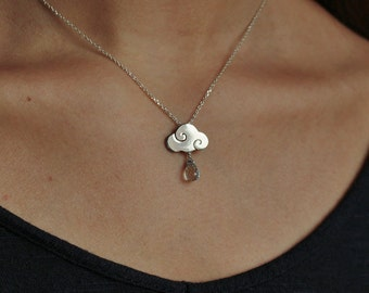 """SWEET CLOUDS -  Necklace """"sweet clouds"""" in sterling silver with blue topaz drops - gloss finish"""