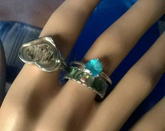 Pretty blue topaz heart ring silver large ring size S 9 1/2