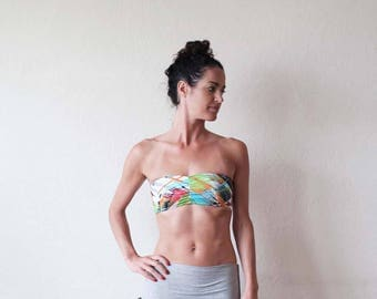 New for summer!! Bandeau top with rouch front. Bikini top - yoga clothes - yoga top - dance - fitness - active wear. Size SM and ML