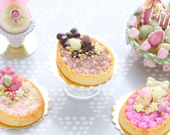 Egg Shaped Easter Cream Tart Decorated with Easter Eggs, Bunny Candy, Blossoms - Chocolate - Miniature Food in 12th Scale for Dollhouse