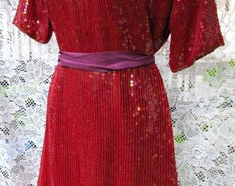 Plus Size Christmas dress Red Sequin Dress, Sequined red dress, Raspberry red, vintage 1980s 80s beaded dress, red sequins dress, 1990s 90s