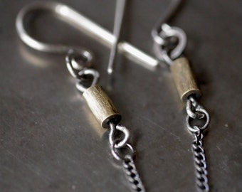 Simple, industrial yellow brass tube and sterling silver chain earrings