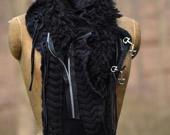 Black SCAR Wrap Shawl -boho steampunk textured accessory with closure