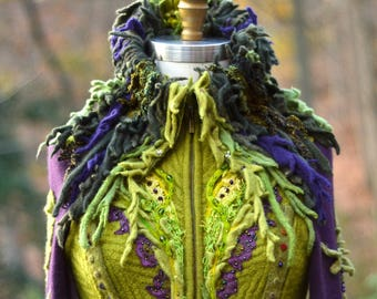 Custom listing for MI. Bespoke eco couture, unique Fantasy Woodland sweater coat