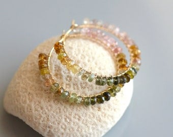 Tourmaline Hoop Gold Earrings - 14k gold filled wire wrapped, faceted multi color tourmaline rondelle, watermelon, pink, green, olive