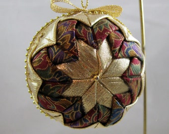 Quilted Chrismas Ornament - Blue, Maroon and Gold 102