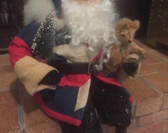 FOLK ART SANTA, Quilted Santa with Teddy Bear and Bottle Brush Tree Adornments, Vintage Santa 1990's Christmas Santa at A Vintate Revolution