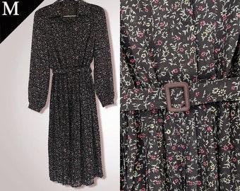 Vintage 70s Forest floral black dress / Medium