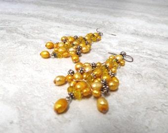 Long Yellow Earrings- Beaded Dangle Hanging Earrings in Warm Yellow Freshwater & Sterling Silver Bali beads (SAMPLE SALE)
