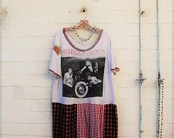Plus Large Rockabilly Dress/The Stray Cats/XLarge Upcycled Dress/Babydoll Dress/Upcycled Clothing/Skate dress/rocker Dress/Brian Setzer love