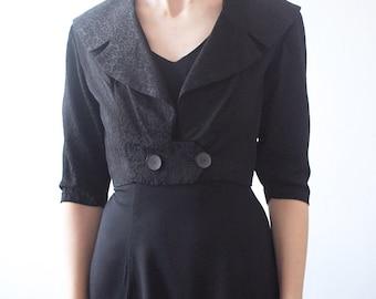 SALE...50s cropped jacket. short black jacket. party jacket - small, medium