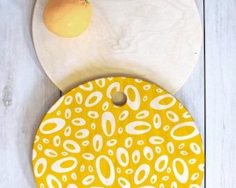 Yellow Geometric Cutting Board // Birch Wood // Serving Board // 3 Sizes // Round, Square, Rectangular // Molecular Yellow // Colorful