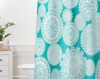 Boho Shower Curtain // Bathroom // Delightful Doilies Tiffany Design // Shower // Bathroom Decor // Bohemian Style // Aqua // Turquoise Blue
