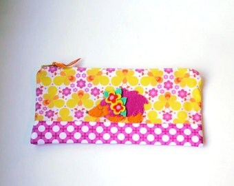 "Zipper Pouch, 5x9.5"" in yellow, magenta, white and orange bee print fabric with Handmade Felt Hedgehog Embellishment, Hedgehog Pencil Case"