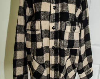 Vintage 1940's Men's Plaid Wool Work Jacket Shirt