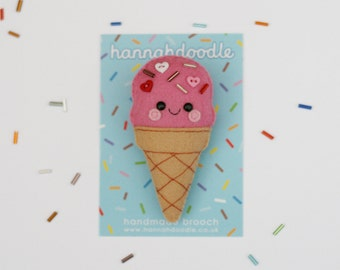 Pink Ice Cream Brooch, Felt Pin, Valentines Gift