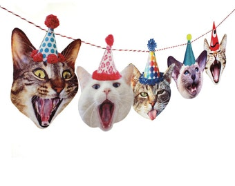 Birthday Cats Garland, photo reproductions on felt, funny cat portraits birthday banner