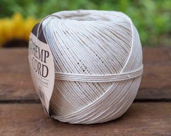 White Hemp Cord, 400 Feet, 20lb, 1mm Hemp Twine, Romanian Hemp  -T94