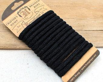 Braided  Hemp Rope, 6mm  Craft   Rope, Black Rope,  Thick hemp -CH22