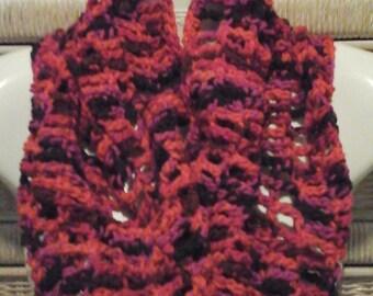 Crochet Cowl in Red, Black, Purple, Multi
