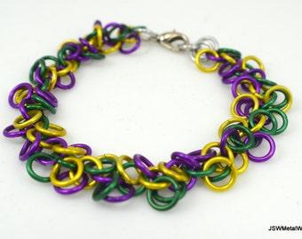 Mardi Gras Shag Bracelet, Aluminum Chainmail Bracelet, Aluminum Bracelet, Yellow Green and Purple Bracelet, Gift under 25