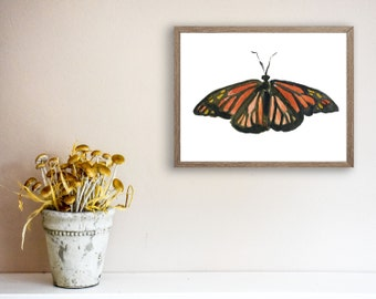Butterfly art print, Black orange Butterfly print, print of watercolor, nature art, Wild life art, Nursery decor, Wall art, home and living