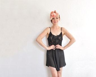 sheer black lace negligee slip . mini lingerie dress . figure skater wear .medium .sale