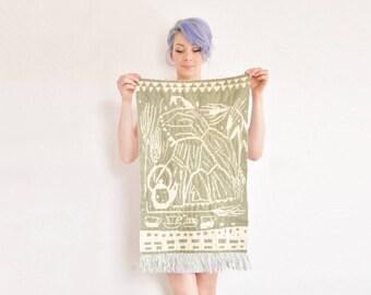 woven Helmi Vuorelma wall tapestry . 1960 Finnish lahti home decor textile .sale
