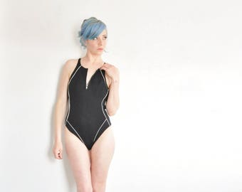 geometric zipper front swimsuit . 1 pc black white athletic bathing suit .medium .sale